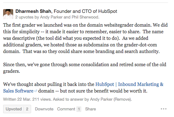 Dharmesh Shah's answer to Andy Parker's question on Quora