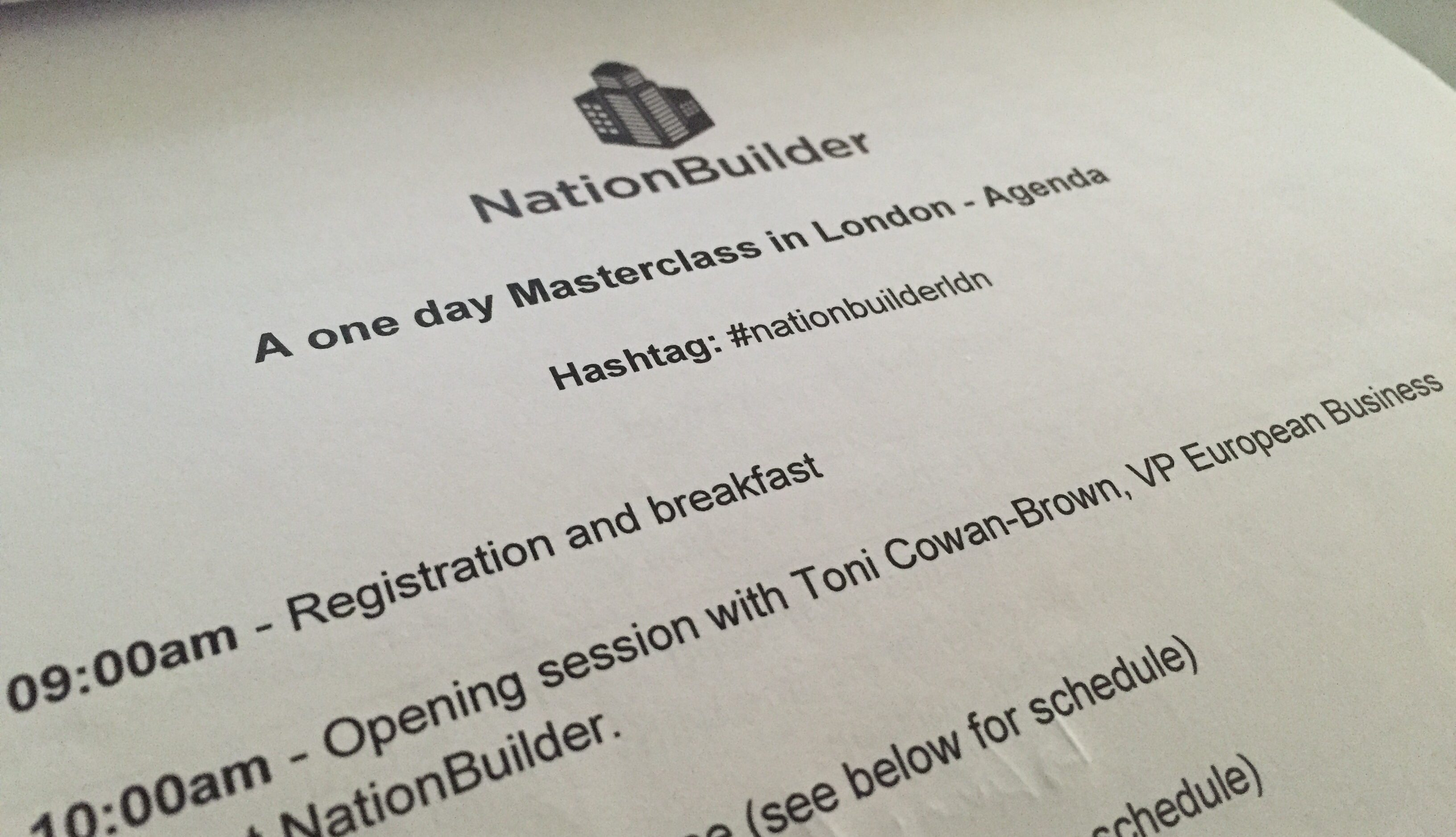 NationBuilder Masterclass agenda